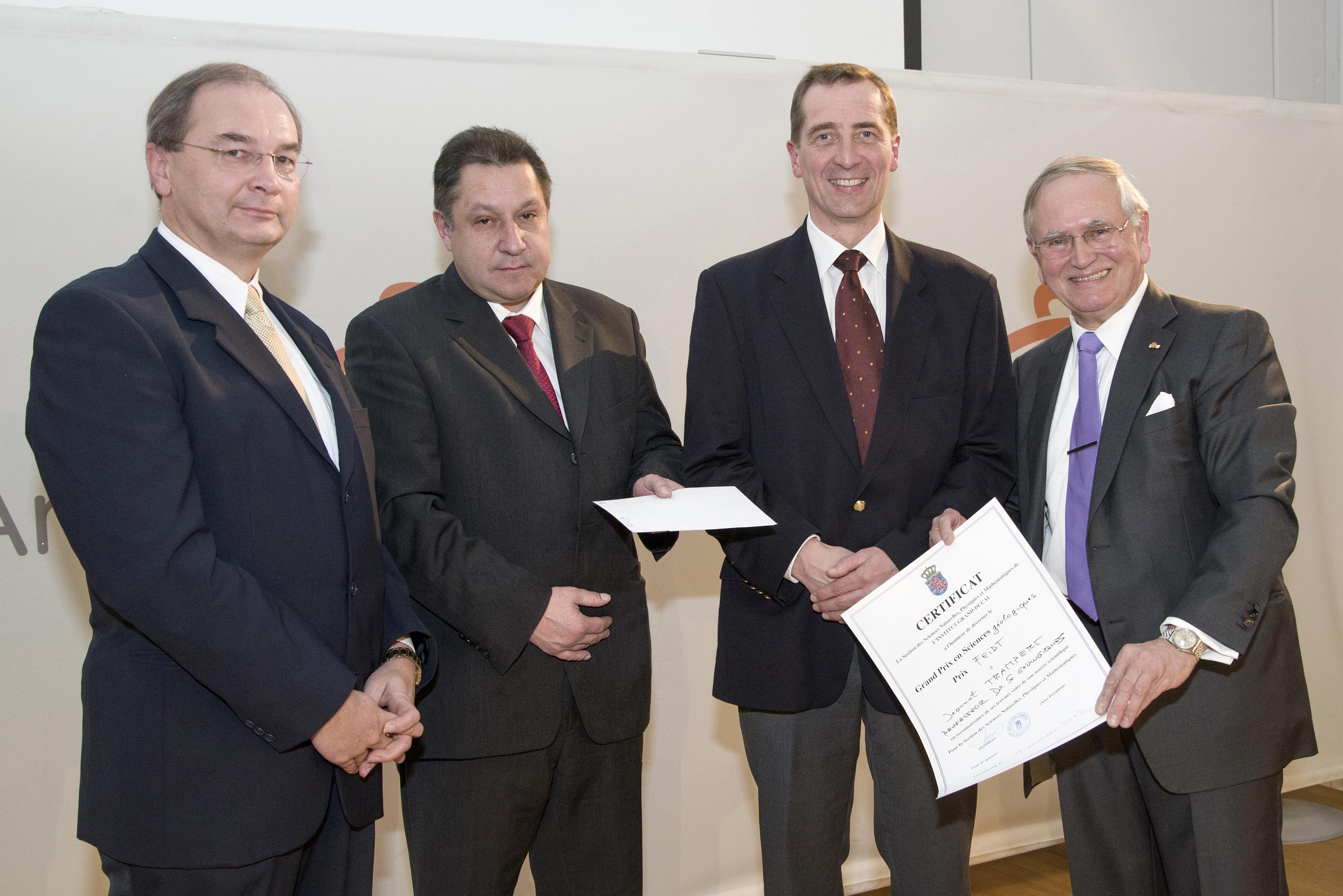 Grand Prix 2012 en sciences géologiques de l'Institut grand-ducal / Prix FEIDT : Professeur Dr Jeannot TRAMPERT (Universiteit Utrecht) / lauréat