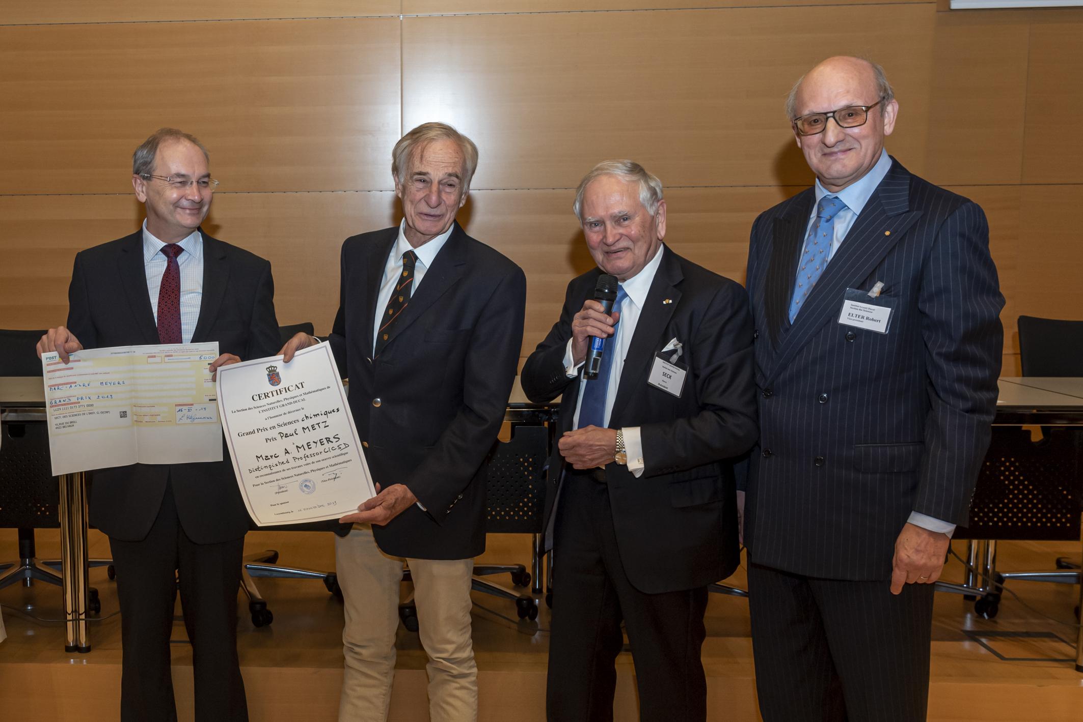 Grand Prix 2019 en sciences chimiques de l'Institut grand-ducal / Prix Paul METZ : Professeur Dr Marc A. MEYERS (University of California / San Diego) / lauréat » Encore un grand merci pour tout le travail !